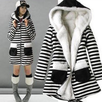 Fashion Autumn Winter Velvet Stripes Printed Hooded Long Sleeve Outerwear Jacket a12956