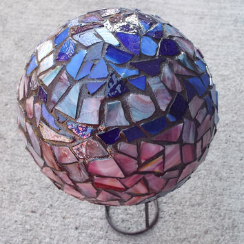 Gazing Ball, Crystal Ball, Home Decor, Romantic Decor, Mosaic Orb, Garden Decor