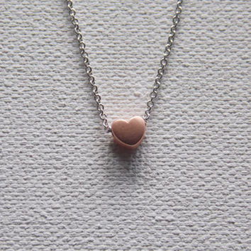 Rose Gold Heart Necklace , Everyday Necklace, Tiny Heart Necklace, Dainty Heart Necklace