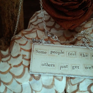 Quote paper glass necklace custom made to order