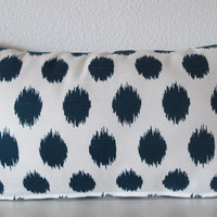 Pillow Cover - Dots - Ikat - Navy Blue - White - Cushion Cover - decorative pillow cover