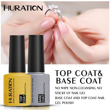 Huration Base Coat and Top Coat UV Gel Nail Polish UV Led Nails Primer Nail Gel Polish Soak Off Base Top Coat Hybrid Gel Varnish