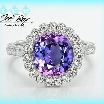 Sapphire Engagement Ring 7 - 8mm Round Blue Sapphire set in a 14k White gold diamond halo with side diamond detail work