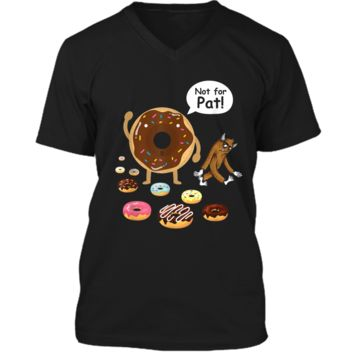 Funny Sasquatch Bigfoot Yeti and Donuts Not For Pat  Mens Printed V-Neck T