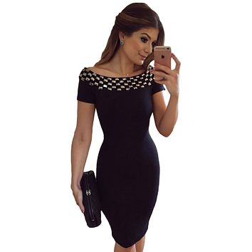 2017 New Women Bodycon Dress Summer Short Sleeve Studded Neck Ladies Office Off Shoulder Pencil Midi Dresses LC61188