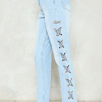 Ex's and Oh's Lace-Up Jeans