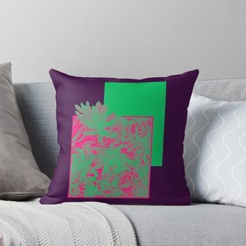 'Neon Greenery #redbubble #succulent' Throw Pillow by designdn