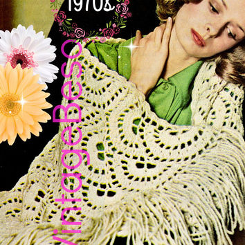 Shawl CROCHET Pattern • PdF Pattern • Feminine Scallop Shawl • Boho Lovely • Vintage 1970s • Touch of Class • Simple chain stitch + dc