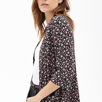 FOREVER 21 Ditsy Floral Soft Blazer Black/Baby Pink Small