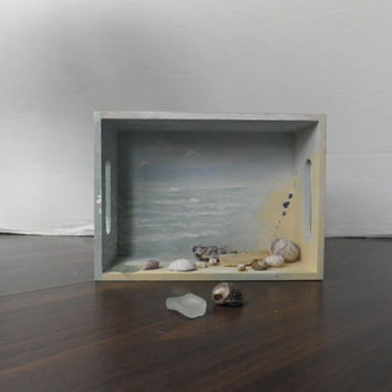 Beach House Diorama Beach Scene, Shadow Box Scene, Coastal Home Decor, Seashell Art,