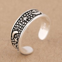 Bohemia Style Star Silver Rings Retro Moon Open Adjustable Ring
