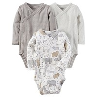 carter's® 3-Pack Side-Snap Bodysuits in Grey