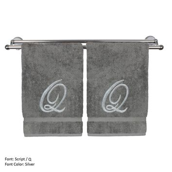 Monogrammed Hand Towel, Personalized Gift, 16 x 30 Inches - Set of 2 - Silver Embroidered Towel - Extra Absorbent 100% Turkish Cotton- Soft Terry Finish - For Bathroom, Kitchen and Spa- Script Q Gray