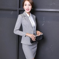 Women elegant skirt suits office uniform style female business office lady work career two piece set grey blazer with skirt set