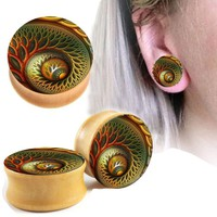 2PC Snail Spiral Wooden Ear Gauges Plugs