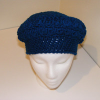 Crochet Women's Bobble Stitch Beret In Royal Blue Optional Fleece Lining
