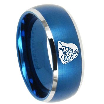10mm Star Wars Darth Vader Dome Brushed Blue 2 Tone Tungsten Carbide Bands Ring