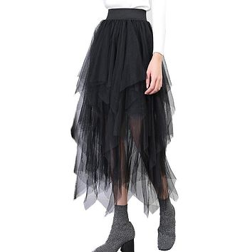 Vintage 4 Layers Tutu Tulle Skirts Womens fashion mesh midi Skirt Elastic High Waist Pleated maxi long Skirt saia faldas jupe