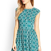 FOREVER 21 Baroque Print Dress Grey/Teal