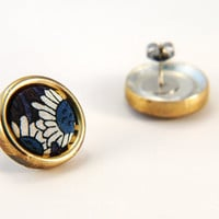 Blue Liberty of London Fabric Button Earrings for Sensitive Ears - Limited Edition OOAK Designer Patterned Fabric wrapped with a Brass Rim