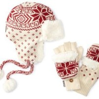 Amazon.com: Muk Luks Women's Nordic Boxed Set, Candy Apple/Ivory, One Size: Clothing
