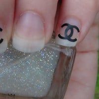 Chanel Inspired Nail Art Decals Logo Set of 20 Vinyl Stickers Applique Manicure Pedicure Party Gifts Stocking Stuffers