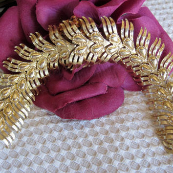 Vintage signed Monet  Gold tone Wide Bracelet