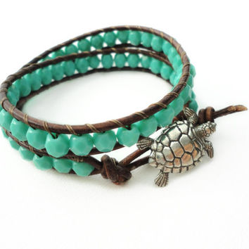 Sea Turtle Leather Bracelet Turquoise Beach Bracelet Friendship Bracelet Beaded Bracelet Leather Wrap Bracelet Boho Mermaid Nautical Gift