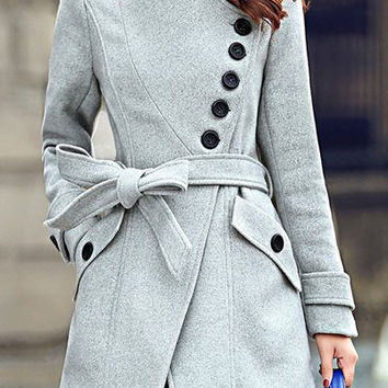 Stand Collar Button Design Long Sleeve Coat with Sash