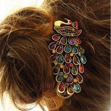 DK7G2 2016 new barrettes Retro Rhinestones Crystal Hollow Peacock hairpins with crystals hair clips for women Clips with crystal Hair