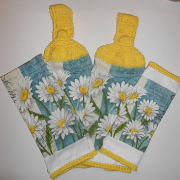 Daisy Kitchen Set, Crochet Hanging Towels, Dish Cloth, Cotton Towel