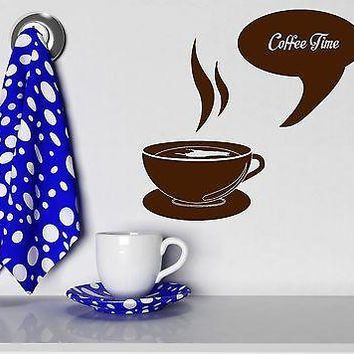 Wall Stickers Coffee Time Cup Shop Kitchen Decor Art Mural Vinyl Decal Unique Gift (ig2026)