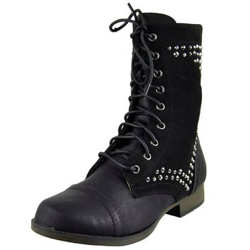 Womens Ankle Boots Rhinestone Studded Combat Lace Up Shoes Black SZ