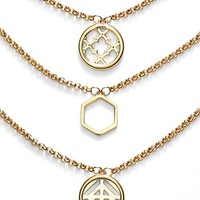 Women's Tory Burch Triple Pendant Necklace - Shiny Gold