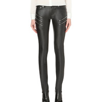 Skinny mid-rise leather jeans