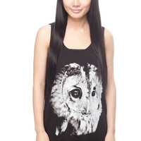 OWL T Shirt Animal Bird Graphic Design Women Black T-Shirt Vest Tank Top Singlet Sleeveless Size S M
