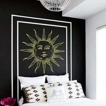 Wall Decal Vinyl Sticker Decals Art Home Decor Design Mural Sun Moon Crescent Dual Ethnic Stars Night Symbol Sunshine Fashion Bedroom AN85