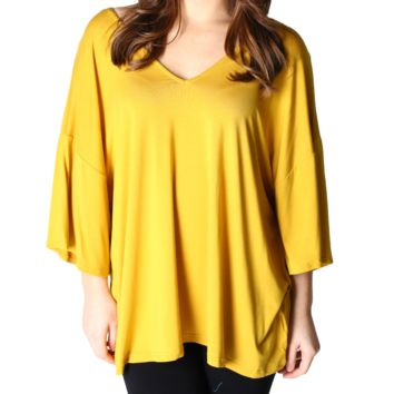 Mustard Piko 1988 V-Back Bell Sleeve Short Sleeve Top