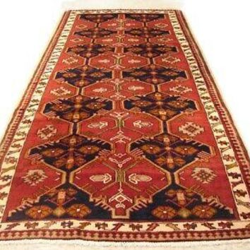 Hamadan Wide Runner Persian Rug 4 x 10 All-Over Mirrored Design Red Rug