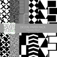 """Black and White Digital Paper 12 Pack- 12""""x12"""" Black and White Opposites Attract Themed Set - Digital Scrapbooking"""