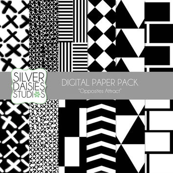 "Black and White Digital Paper 12 Pack- 12""x12"" Black and White Opposites Attract Themed Set - Digital Scrapbooking"