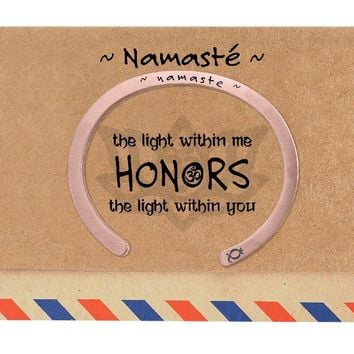 Cassidy Namaste Flat Cuff Engraved Bracelet, comes with Inspirational and Motivational Quote