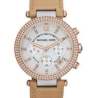 Michael Kors Watch, Women's Chronograph Parker Brown Vachetta Leather Strap 39mm MK5633 - Michael Kors - Jewelry & Watches - Macy's