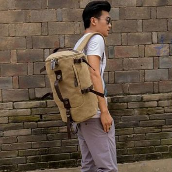 Men Backpacks Men's Canvas Leather Military Rucksack Messenger Tote Shoulder Bag Boys Backpack Knapsack Men Solid Bags Softback