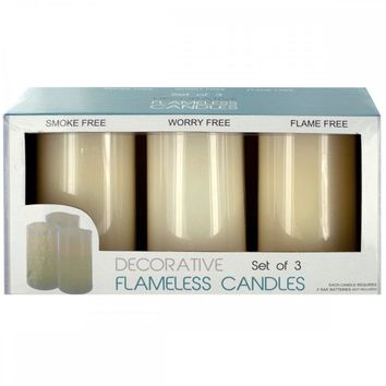 Decorative Flameless Vanilla Pillar Candles OS331