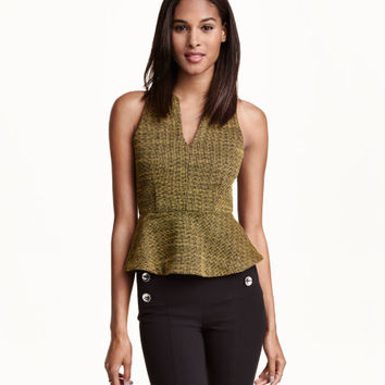 Jacquard-weave Peplum Top - from H&M