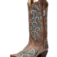 Women's Studded Snip Toe Boot with Inlay Turquoise / Brown - R1330