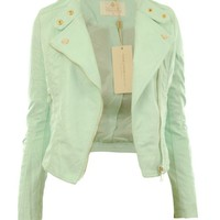 Gracious Girl Women's Diana Faux Leather Biker CropJacket Mint 10