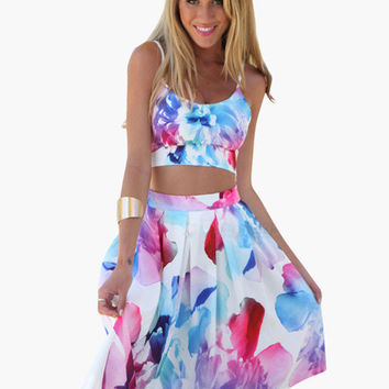 Floral Cropped Top and Pleated Midi Skirt
