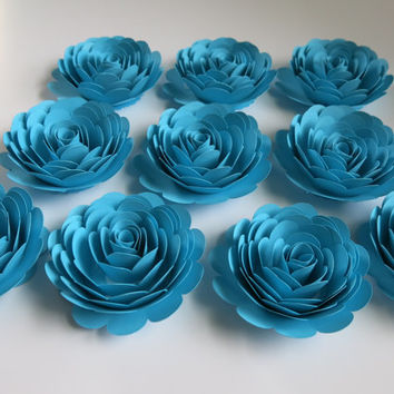 "Set of 10 Big Aqua Blue Roses, Boy Baby Shower Table Centerpiece Decor, 3"" Paper Flowers, Pool Theme Birthday Party Decorations"